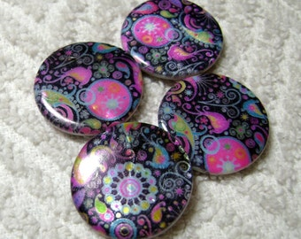 Paisley Beads - Paisley Coin Beads - Paisley Shell Beads - Shell Disc Beads - (25mm x 4mm) - (4 Pcs) - B-1703