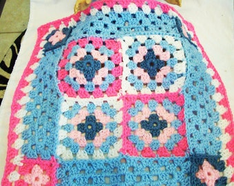 Doll size, Crochet Granny Square Throw Afghan in pastel blue, bright pink, and white