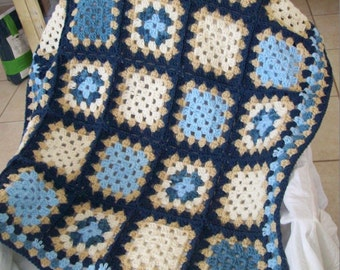 Crochet Granny Square Throw Afghan in country blues, ecru, khaki, and navy