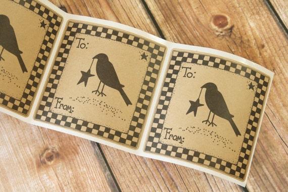 CROW Bird Folk Art Primitive Kraft large sticker labels