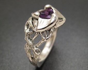 Sterling & Amethyst Trillium Ring