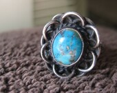 Vintage sterling silver turquoise flower ring, size 8