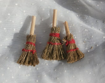 Lot of 3 Miniature Brooms For Dollhouse or Crafting