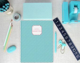 Personalized Spiral Notebook | Diagonal Stripe Pattern | Monogram | Custom Colors
