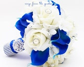 Reserved - Royal Blue & White Bridal Bouquet Roses Calla Lilies Stephanotis with Groom's Boutonniere - Bridesmaids Bouquets