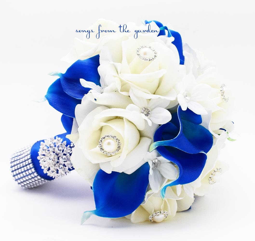 Royal Blue & White Bridal Bouquet Roses Calla Lilies