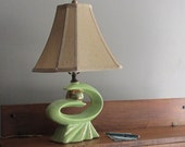 Sale - 30% off - was 109.00 now 76.00 - atomic age - table lamp - chartreuse - mid century decor - Eames Era