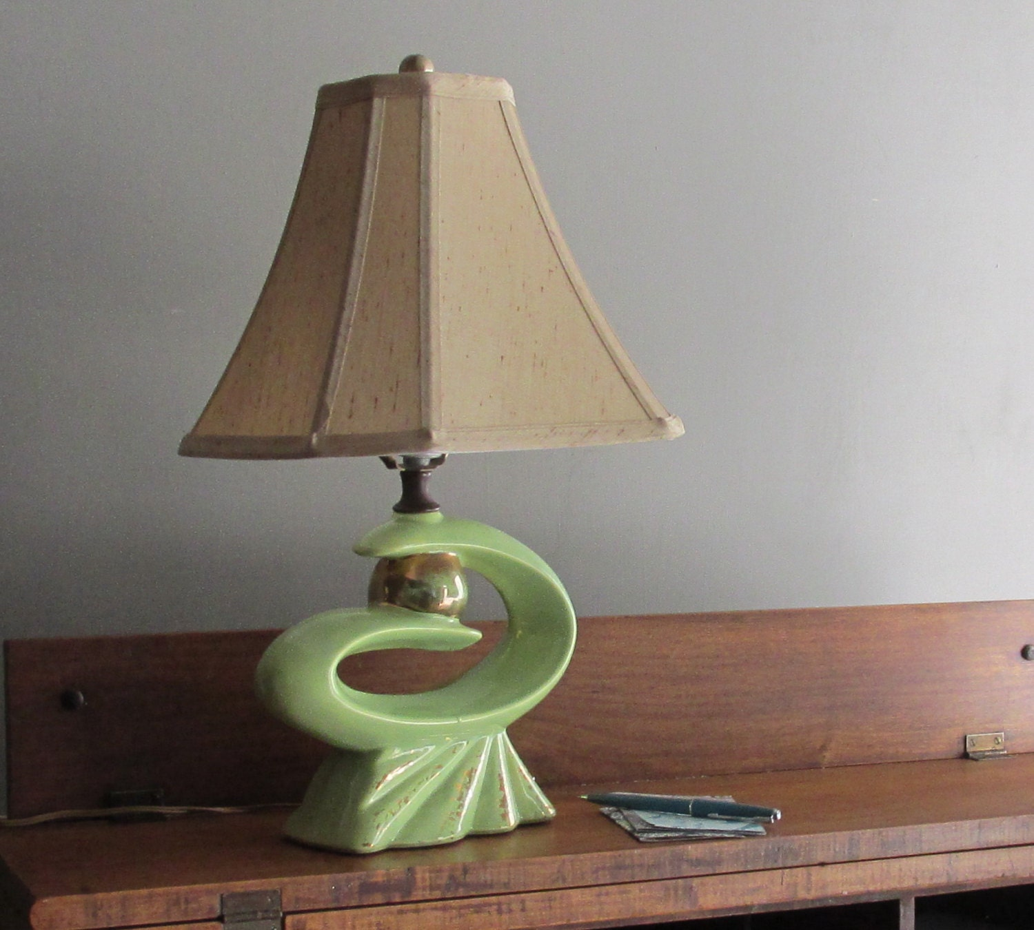 Mid Century Standard Lamp: Atomic Age Table Lamp Chartreuse Mid Century Decor