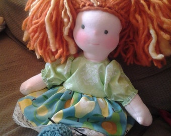 Waldorf  type doll  with clothes 14 inches tall wool head