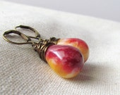 Strawberry Lemonade Drop Earrings, Candy Jade, Colorful, Red and Yellow, Antiqued Brass, Wire Wrapped, Large Teardrop, Summer, Dyed Stone