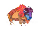 Buffalo Bison in Full Colored Coat Print and Cards