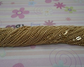 High Quality--25pcs 1.5mm 20 inch gold plated shiny ball chain necklace with lobster clasp
