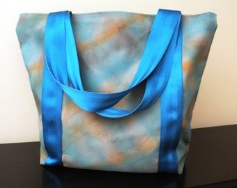 Spray Paint Tote Bag-Blue and Orange