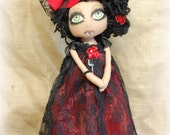 Vampire KORA and her doll Thana ooak Primitive folk art doll big eye collectable Home decor OOAk Gothic Hallowee