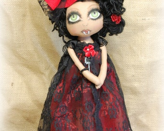 Vampire KORA and her doll Thana ooak Primitive folk art doll big eye collectable Home decor OOAk Gothic Hallowee