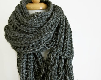 Long Gray Knit Scarf - Handknit Scarf - Grey Crochet Scarf - Scarf with Fringe - Mens Winter Scarf