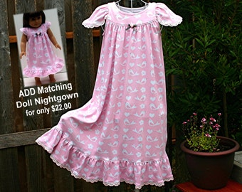 FREE SHIPPING/Size 4/5-girls, Pink 100% Cotton Knit Nightgown, Full Length, Eyelet Trim // Ready to Ship // Quality mid-weight fabric (9oz)