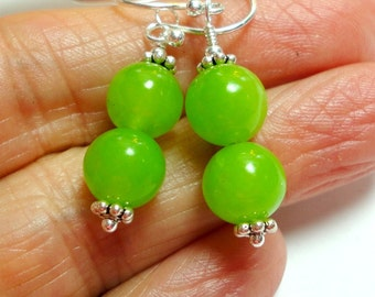 Lime Green Jade Earrings with Sterling