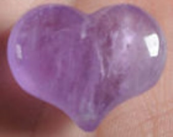 Amethyst Polished Gemstone Heart Purse or Pocket Charm Meditation Stone Small Paperweight