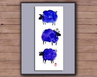 Chinese New Year of the Sheep, Ram, Goat Chinese zodiac, Shengxiao, 2015 Original Zen Watercolor sumi-e ink Painting, zen decor, nursery art