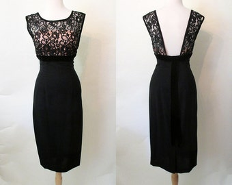 Fabulous 1950's Designer Black Cocktail Dress w/ Lace Elusion Shelf Bust by