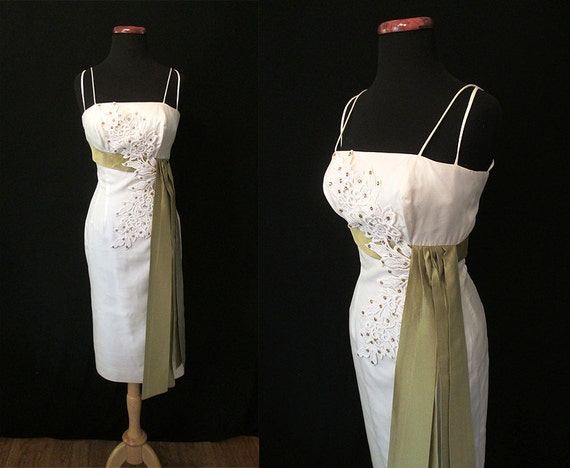 "Lovely 1950's Designer Hourglass Summer Cocktail Party Dress w/ Applique & Rhinestones by ""Lou Ette"" Rockabilly VLV Size-XSmall"