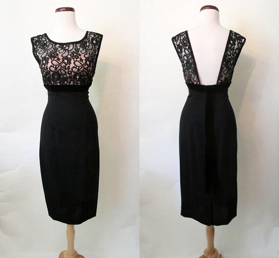 "Fabulous 1950's ""Mr. Mort"" Designer Black Cocktail Dress w/ Lace Elusion Shelf Bust Rockabilly VLV Wiggle Dress Vixen Curvy Size-Medium"
