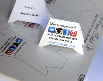 INSTANT DOWNLOAD - Social media Place/escort cards - Interactive PDF File - Free venue visit questioner and evaluation.
