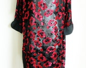 RESERVED Torrente couture chiffon and velvet dress tunic with satin borders