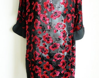 TORRENTE couture chiffon and velvet dress tunic with satin borders
