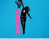 Personalized Girl Basketball Player Wall Decal Removable Female Basketball Wall Sticker