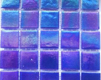 "20mm (3/4"") Royal Blue Iridescent Vitreous Glass Mosaic Tiles// Mosaic Supplies//Mosaic Pieces//Crafts"