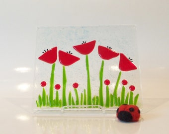 Red Flowers // Fused GLass // Art Panel // Wooden or Acrylic display stand // Tulips // Poppies // Garden // Summer // Mothers Day //  Small