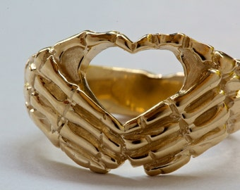 Solid gold skeleton hands ring  I heart you sign ring love you to death Blue Bayer Design NYC