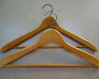 Lot of 2 Vintage Wood Hangers