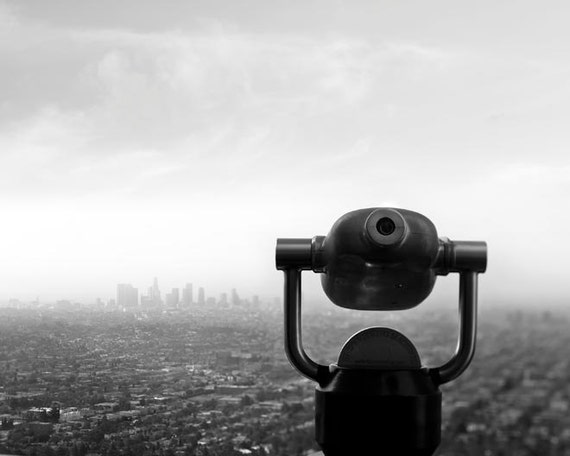 Los Angeles Print, California Print, Black White Photos Downtown LA Skyline, LA Viewfinder, Black White Office Decor, Gray Wall Art