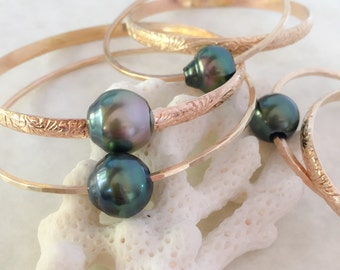 Gold Filled Hawaiian Heirloom Bangle with or without Tahitian Pearl