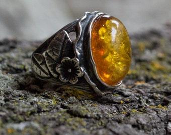 Amber Ring, statement ring, botanical ring, nature ring, orange gemstone ring, engagement ring, sterling silver ring - In the garden R1771-1