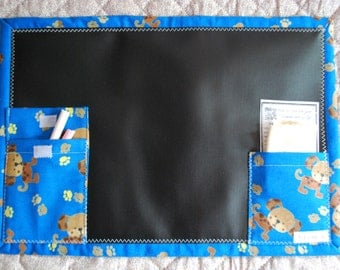 Chalkboard To Go travel placemat activity - cutest puppy on blue