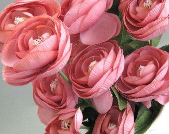 Pink Ranunculus Silk Flower Decor Rose Artificial Flower Supplies Floral Supplies Wedding Flower Pink Flower Stem Flower Faux Flower Spray