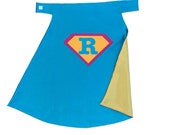 Superhero Cape Personalized Letter Diamond Turquoise and Yellow , 2T - 7T, cloak multiple colors easy birthday gift fast delivery Worldwide