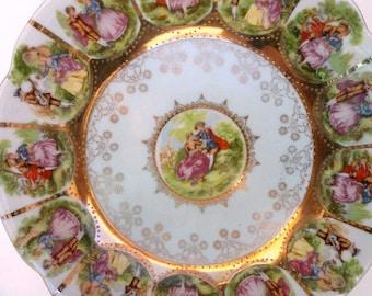 Royal Vienna Pedestal Plate, Fragonard Courting Couple, Robin's Egg Blue, Beehive Marking//Loving Couple Plate//Vintage Serveware