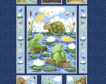"PAUL, the Frog and SHELDON, the Turtle ~ Blue 100% Cotton Print Fabric PANEL ~ 1 yard ~ 36"" x 43"" by Susybee 20220"