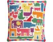 Modern needlepoint DIY cushion kit, cross stitch kit, tapestry kit, animals, nursery, Rainbow Zoo