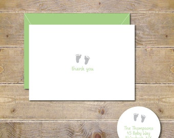 Baby Feet, Thank You Cards, Baby Thank You Cards, Baby Announcement , Baby Footprints, Baby Shower, New Baby, Birth Announcements