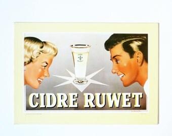 1960s Belgian vintage CARDBOARD ADVERTISING sign⎮Cider Ruwet⎮woman man glass⎮atomic style⎮bar pub bistro decor