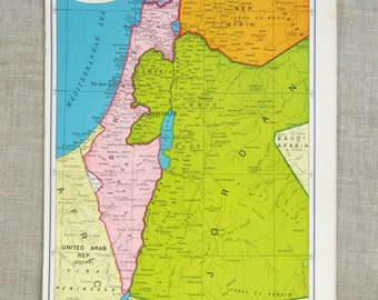 Map of Isreal , Maps , Jordan , Iran , Middle East Map , Colorful , Geography , Art Supplies , Global , Persia , Map , Paper Ephemera
