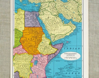 Vintage Map of Africa, Northeast, Southern, Atlantic Ocean, Sudan, Colorful, Geography, Arts and Craft Supply, Paper Ephemera, Typography