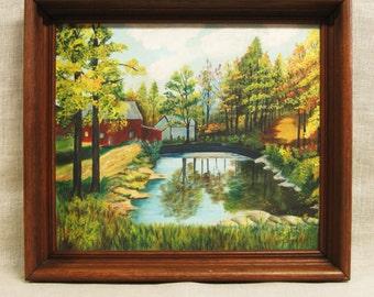 Landscape , Painting , Landscapes , Rural , Original Art , Fine Art , Framed , Primitive , Naive , Handmade , Vintage Art , Water , Barn