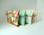 READY TO SHIP Aztec Bridesmaid Clutches / Set of 4 / Gold Coral Mint Clutches
